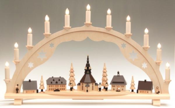 erzgebirgische wichtelstube schwibbogen seiffener kirche 65 cm beleuchtet. Black Bedroom Furniture Sets. Home Design Ideas